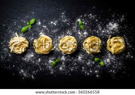 Pasta on dark background