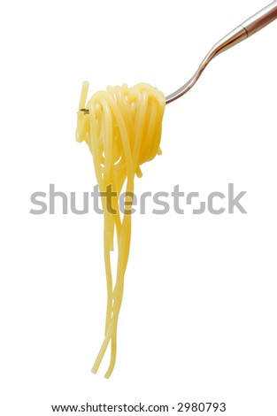Pasta on fork isolated on pure white background