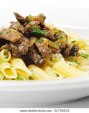 Pasta Penne with Beef and Parsley
