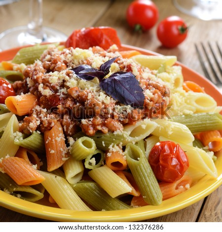 Pasta Penne With Bolognese Tomato Beef Sauce On The Kitchen Table ...