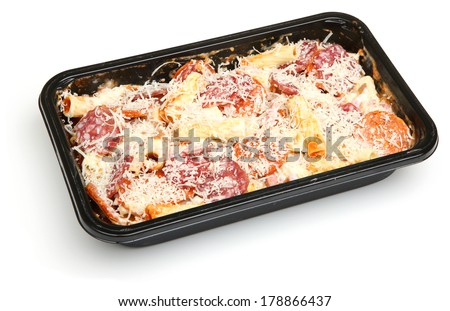 Pasta ready meal with salami sausage, ham and cheese