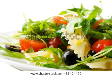Pasta salad isolated on white