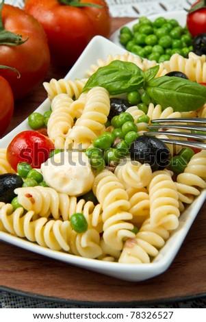 Pasta salad with mozzarella and basil