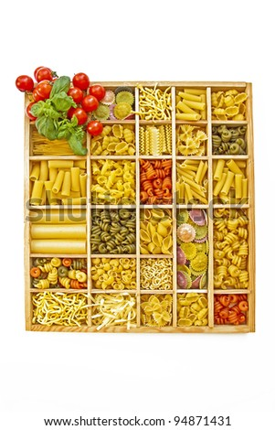 Pasta selections - Still life with many different types of pasta