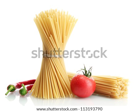 Pasta spaghetti, tomatoes and peppers, isolated on white