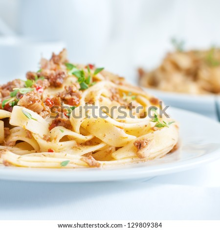 pasta tagliatelle with bolgnese sauce