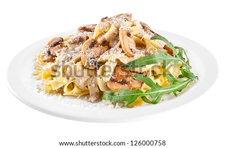 Pasta tagliatelle with mushrooms isolated on white background