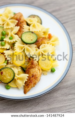Pasta with chicken and zucchini