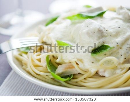 Pasta With Chicken, Creamy Sauce And Basil Stock Photo ...