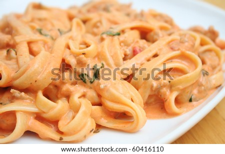 Pasta With Creamy Homemade Tomato Sauce With Basil And Italian Sausage ...