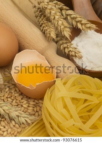 pasta with ingredients - stock photo
