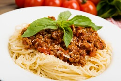 Pasta with meat, tomato sauce and vegetables