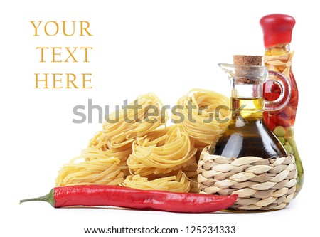 Pasta with olive oil isolated on white - stock photo
