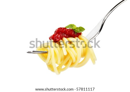 pasta with red sauce and basil on a fork on white background