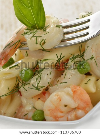 Pasta With Shrimps And Sauce ,Close Up