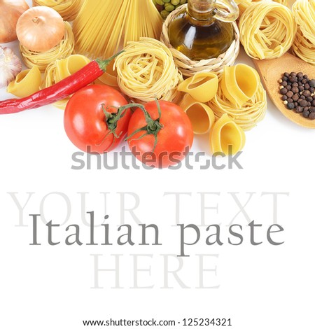 Pasta with spices and vegetables  on white