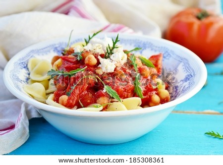 Pasta With Tomato And Chickpea Sauce Stock Photo 185308361 ...
