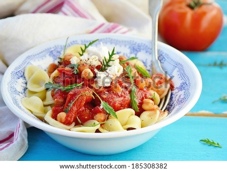 Pasta With Tomato And Chickpea Sauce Stock Photo 185308382 ...