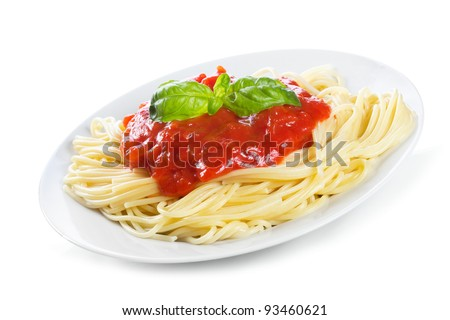 Pasta with tomato sauce and basil on white background
