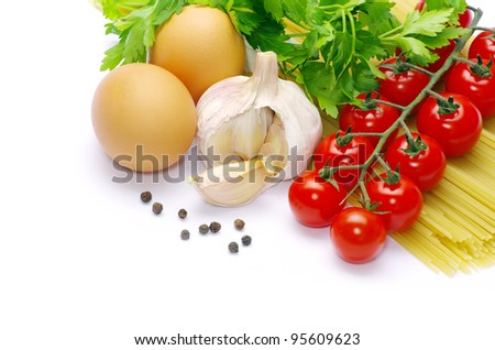 pasta with tomatoes on a white background