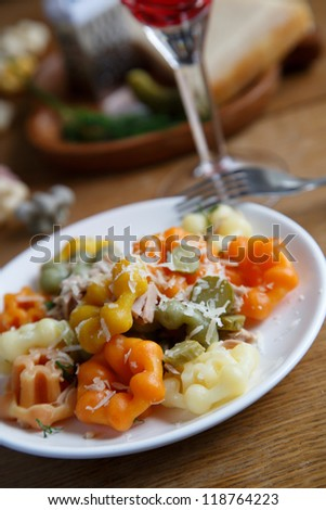 Pasta with tuna,dill and gherkins - stock photo
