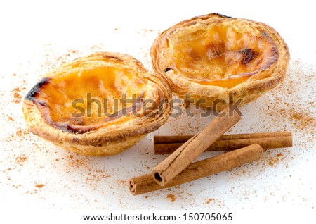 Pasteis de nata, typical pastry from Lisbon - Portugal, isolated on white background.