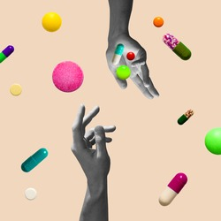 Pastel background. The abstract hand and falling tablets and pills. Artwork or creative collage with isolated elements. Concept of healthcare, covid-19, surrealism, support, medical help