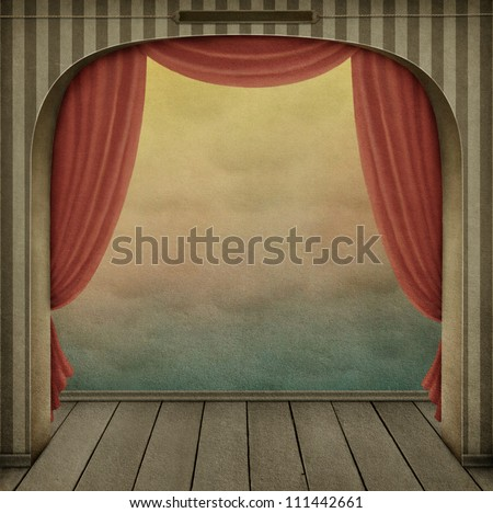 Pastel background with arch and curtains