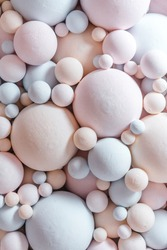 pastel balloons background. Abstract background with 3d spheres. Plastic pink and blue bubbles