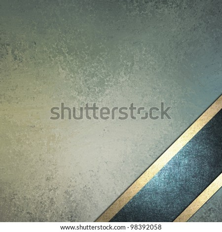 pastel blue background design with vintage grunge texture and darker blue ribbon layout angled in bottom corner of frame with gold decoration trim with copy space for Easter text