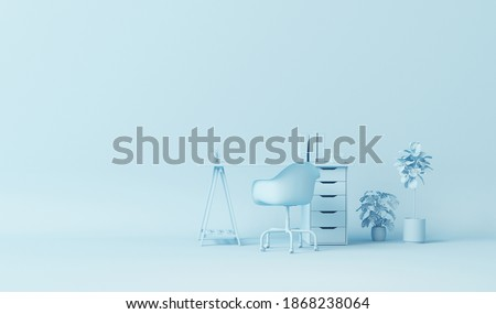 Pastel blue monochrome minimal office table desk. Minimal idea concept for study desk and workspace. Mockup template, 3d rendering