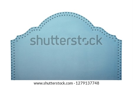 Pastel blue soft velvet fabric shaped bed headboard isolated on white background, front view #1279137748