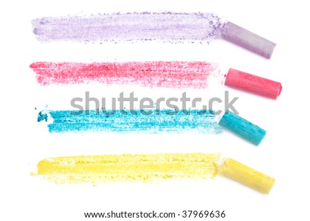 Pastel chalk lines, over white.  Design elements with copy-space.
