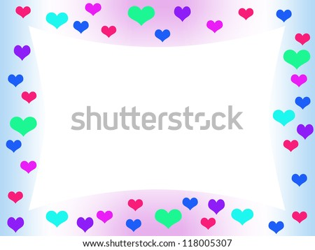 pastel colored frame with colorful hearts, on white background