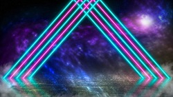 Pastel colored neon laser lights on alien planet with ice and fog. Colorful galaxy in outer space. Background with copy space for product display.