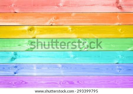 Pastel colorful rainbow painted wood planks background