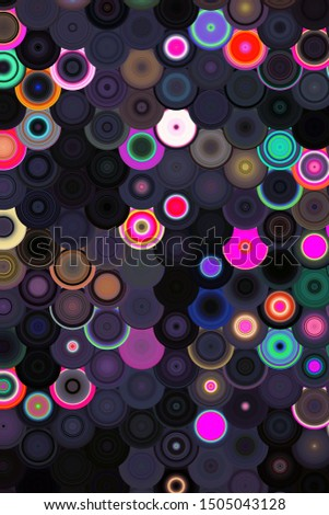 Pastel colors, dotted lines on dark black background.