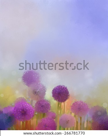 Pastel colors  light purple onion flower in the meadows. Abstract  oil painting  field of onion flowers at sunset in soft colorful and blur style with bokeh background.