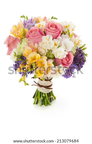Pastel colors wedding bouquet made of Roses, Freesia, Carnation and Limonium flowers isolated on white. #213079684