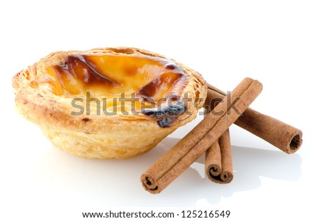 Pastel de nata, typical pastry from Lisbon - Portugal, isolated on white background.
