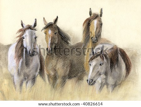 Pastel drawing of herd horses