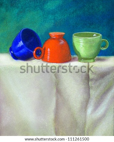 Pastel drawing still life with vintage retro teacups