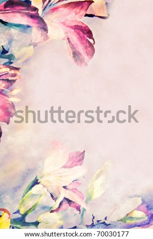 Pastel flowered border on paper. - stock photo