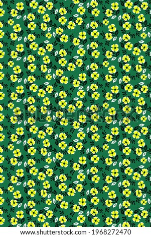 Pastel flowers on a green background, beautiful flowers pattern, seamless background, for textiles, women's clothing, children's clothing, bed linen, etc.
