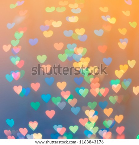 Pastel heart bokeh on a toned background.Soft focus #1163843176