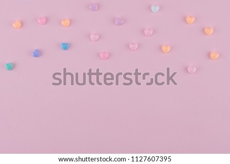 Pastel heart pattern on pink background with copy space #1127607395