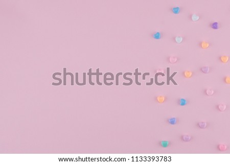 Pastel heart pattern on pink background with copy space #1133393783