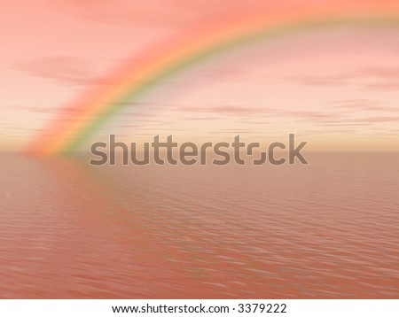 Pastel landscape with ocean, sky and rainbow