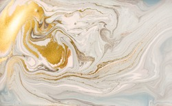 Pastel marble pattern with golden glitter. Abstract liquid background
