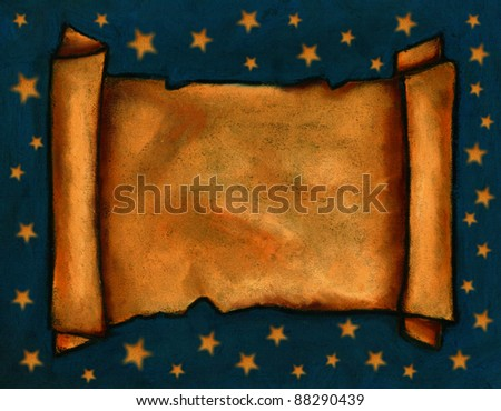 Pastel Painting of Old Scroll With Starry Background